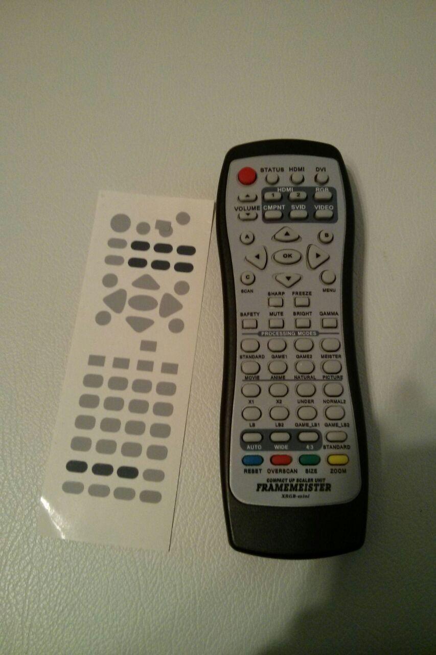 XRGB-mini Remote Overlay aufgeklebt